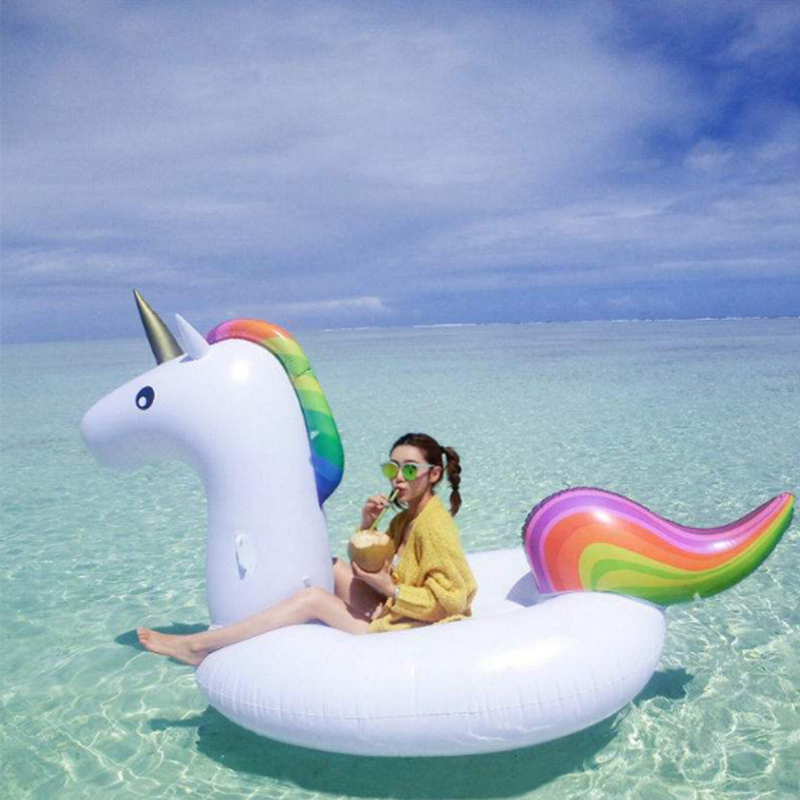 270*140*120cm Big Size Inflatable Unicorn Swimming Float Rider Unicorn Swimming Float Tube Raft Swimming Ring Water Toys B40013 environmentally friendly pvc inflatable shell water floating row of a variety of swimming pearl shell swimming ring