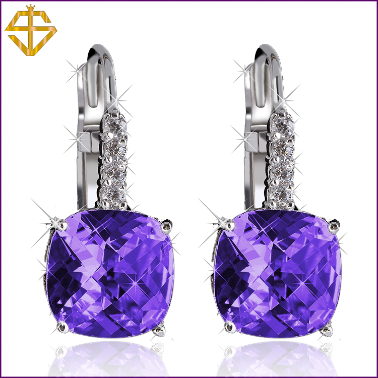 Si 2015 Hot Sale 6colors Big Zircon Fashion Jewelry Classic Style Silver Plated Dangle Earrings