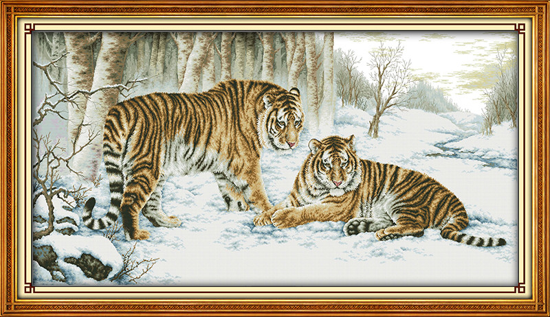 Tiger Animal Cross stitch kits DMC Cotton Counted 14CT White 11CT Printed Embroidery DIY ...