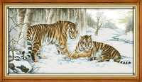 Tiger Animal Cross Stitch Kits DMC Cotton Counted 14CT White 11CT Printed Embroidery DIY Handmade Needlework