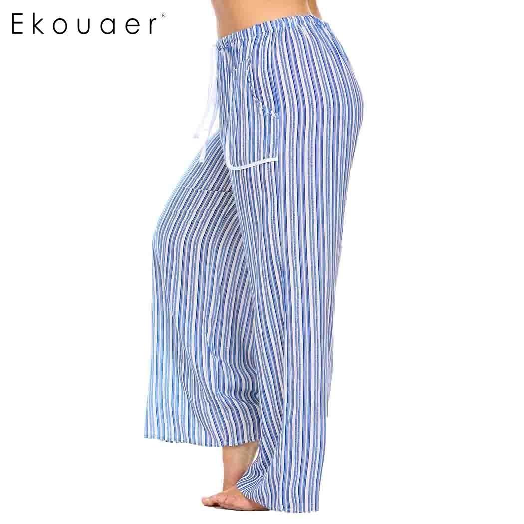 Ekouaer Sleepwear Women Drawstring Waist Striped Casual Loose Pajama Pants Plus Size 1