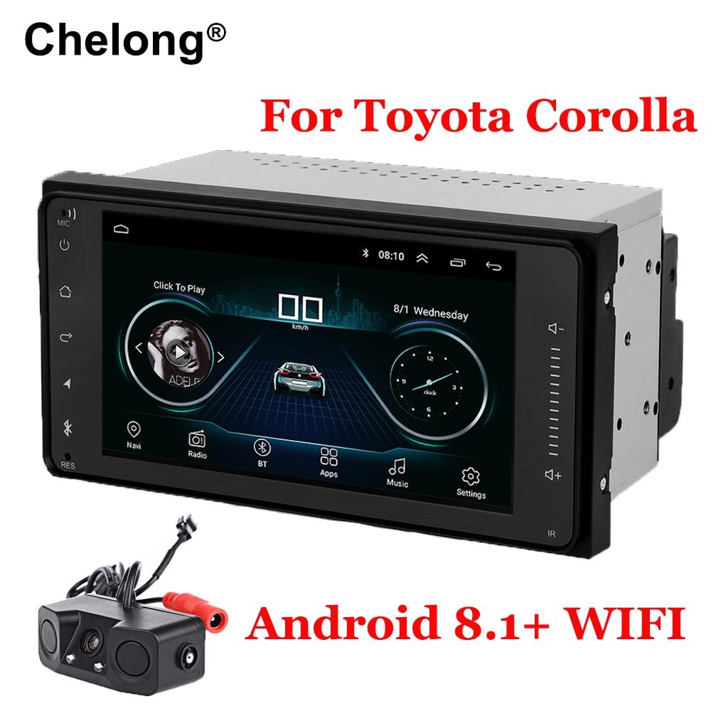 Android 8,1 doble din Radio del coche para Toyota Terios viejo Corolla Camry wifi Bluetooth GPS navegación Universal radio capacitiva