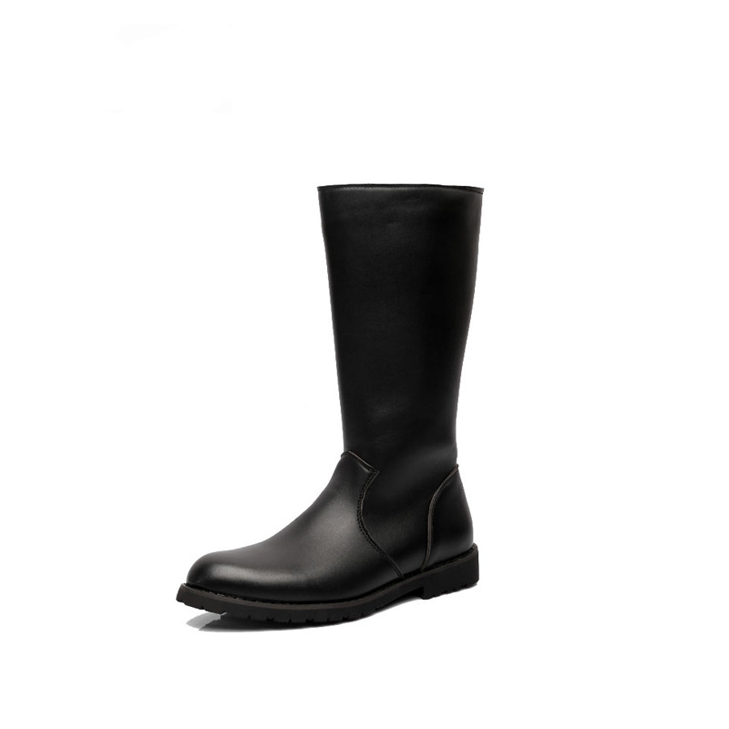 Fashion Waterproof Riding Boot Black Solid Knee-high Casual Men Shoes Leather Motorcycle Boots bota masculino Plus Size 37-44 scoyco mbt002 motorcycle bicycle men s leather short boots black size 44
