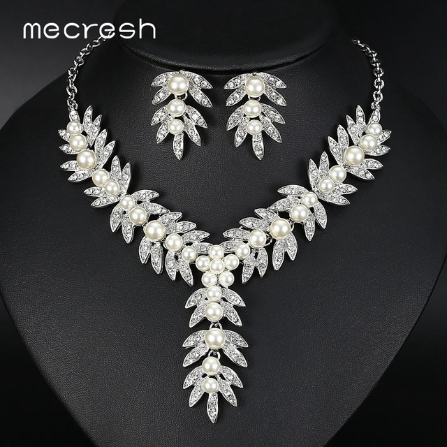 Mecresh Exaggerated Leaves Simulated Pearl Bridal Jewelry Sets Crystal Wedding Bridesmaid Necklace Indian MTL522