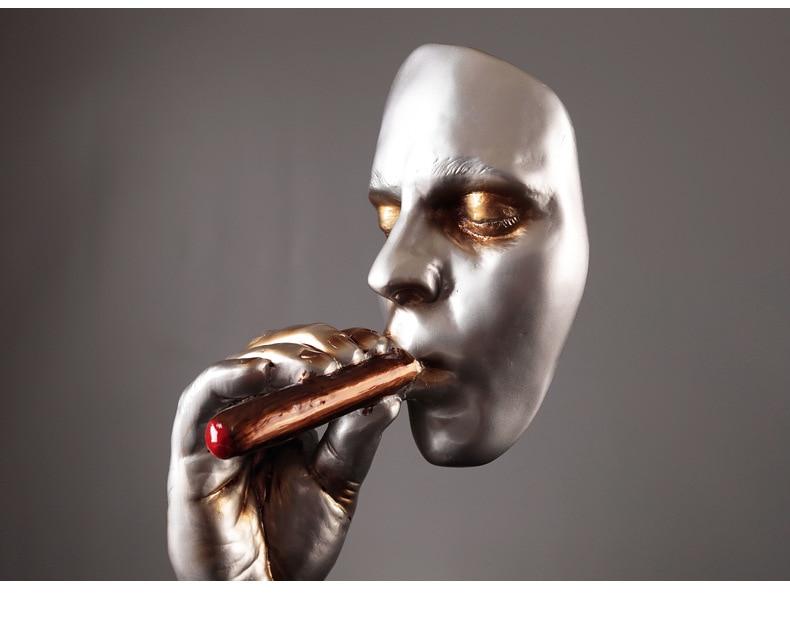 Retro Smoker Meditators Abstract Sculpture Man Smoking Cigar Creative Statue Nature Resin Figurine Artwork Home Decorations