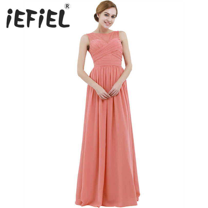 iEFiEL Female Women Ladies Chiffon Lace Bridesmaid Wedding Party Formal Occasion Evening Tulle Floor Length Summer Floral Dress