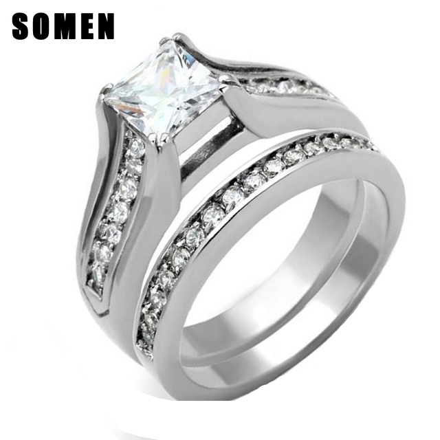 princess cut cubic zirconia stainless steel wedding ring set women bridal engagement love ring sets bague - Stainless Steel Wedding Ring Sets