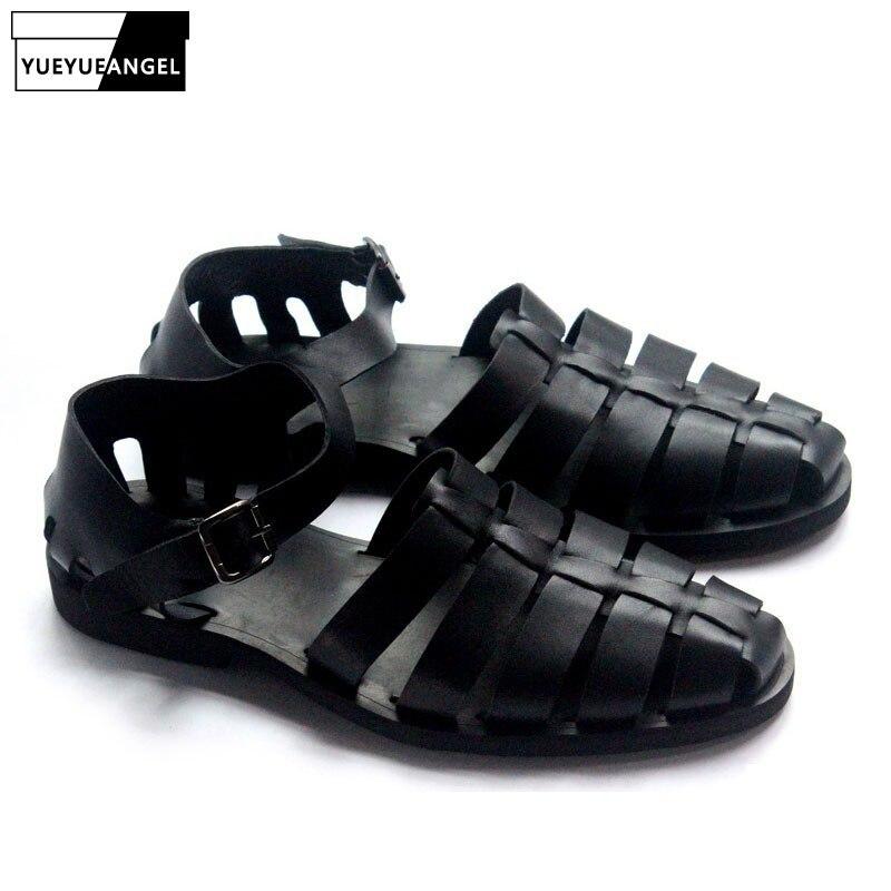 Retro Italian Roman Gladiator Men/'s Casual Buckle Leather Slippers beach sandals