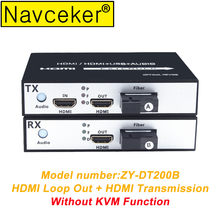 1080P HDMI Fiber Optic Media Converter with USB 2.0 KVM Control & Loop Out 20 km Optical Extender Over SC