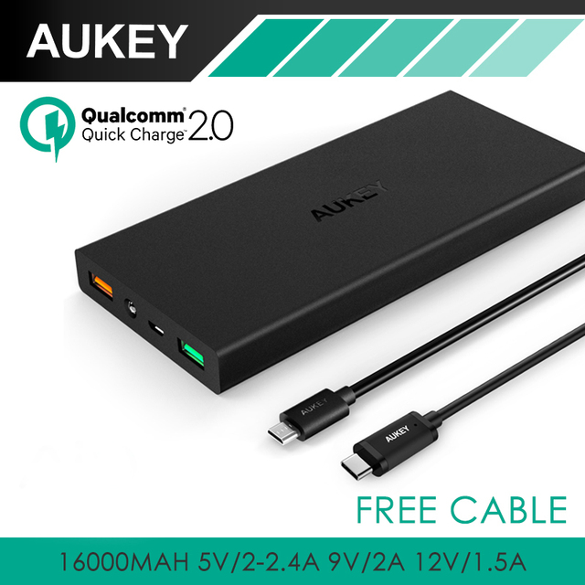 Aukey 16000 мАч PowerAll QC 2.0 Внешняя Батарея Черный 2 USB порта Power Bank с для iPhone/Sony/Samsung/Htc/Nexus с Кабелем