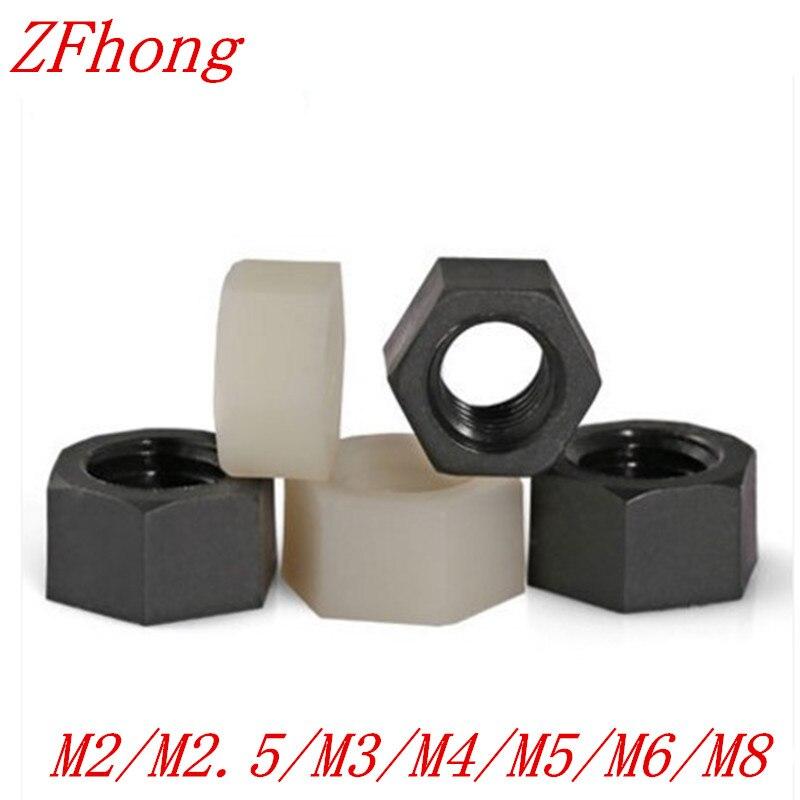 100PCS DIN934 M2 M2.5 M3 M4 M5 M6 M8 White Or Black nylon plastic hex nut  гайки оцинкованные м22 din 934 6 шт