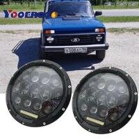 For Jeep JK TJ 75W 7 7 inch LED Headlights Hi/Lo Beam DRL Headlamp For Lada 4x4 Hummer Land Rover Defender