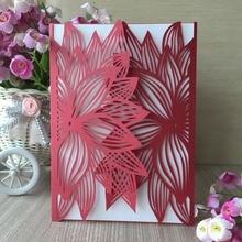 35 шт. красные, Вырезанные лазером красивый дизайн цветочный узор свадебные приглашения карты элегантное поздравление с днем рождения наборы открыток вечерние украшения