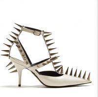 2018 летние вырезы с заклепками острый носок босоножки на высоком каблуке пикантные туфли с Т образным ремешком шпильки кожаные туфли каблук