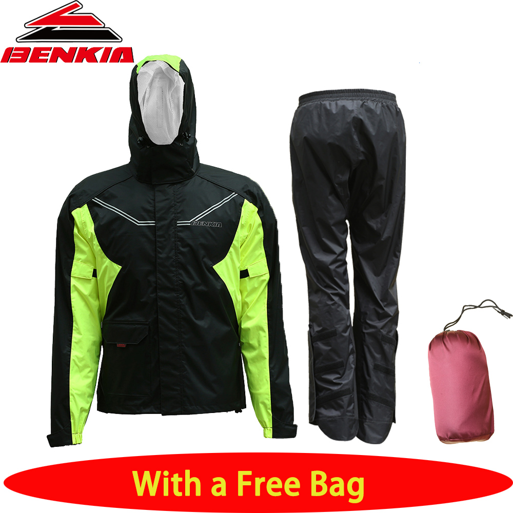 BENKIA Motorcycle Raincoat Motorcycle Waterproof Rain Suit Coat+Pants Motorcycle Rain Gear Riding Jackets Pants Motoqueiro RC37 pole m 21 motorcycle cycling raincoat rain pants suit for women pink grey size l