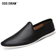 COSIDRAM Soft Genuine Leather Men Casual Shoes Male Fashion Summer Driving Flat Shoes Men Flats New 2017 Men Loafers RMC-034