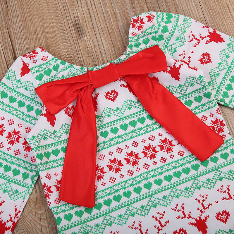 Pudcoco Newborn Baby Girl Christmas Romper Long Sleeve Back Bow Xmas Clothes Toddler Kids Jumpsuit Playsuit Outfits 0 18M in Rompers from Mother Kids
