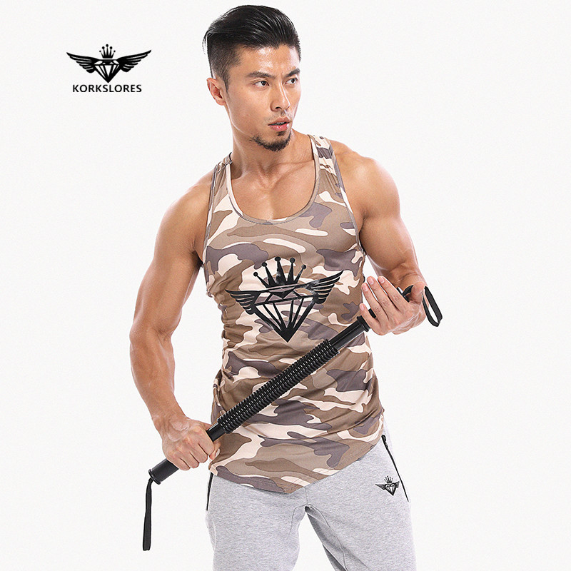 KORKSLORES Fitness Men   Tank     Top   Army Camo Camouflage Mens Bodybuilding Stringers   Tank     Tops   Singlet Brand Clothing