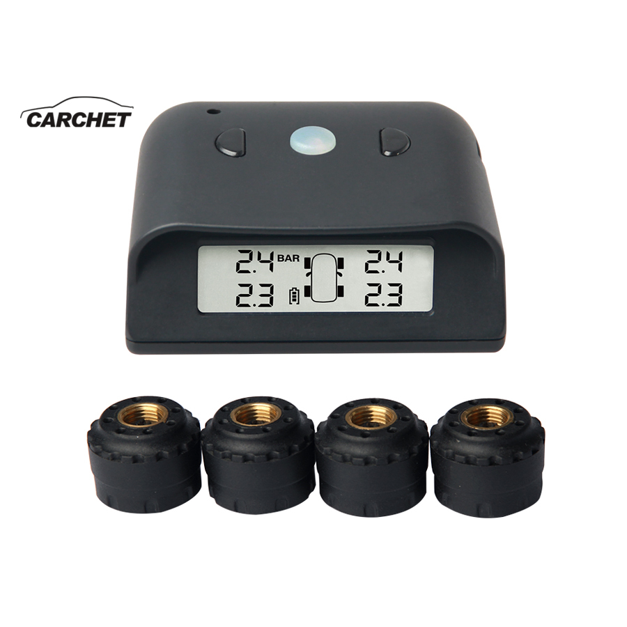 CARCHET Universal Car Tire Pressure Alarm Monitor System TPMS Digital Display Blue Light Wireless 4 External