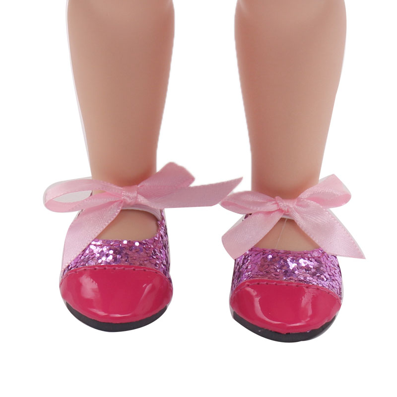 Doll Shoes Fashion Doll Red Leather Shoe 18 Inch Girl Dolls And 43 Cm Baby Doll Toy Accessories S71 Dolls Accessories