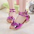 2016 niños del verano zapatos casuales zapatos de los niños niñas Chaussure princesa zapatos de las muchachas de las sandalias de las muchachas tacones cuadrados