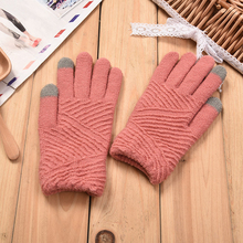 Women Gloves Winter Woolen Knitted Gloves Touch Screen Mittens Keep Warm Female Winter Full Finger Stripe Gloves Fashion Autumn
