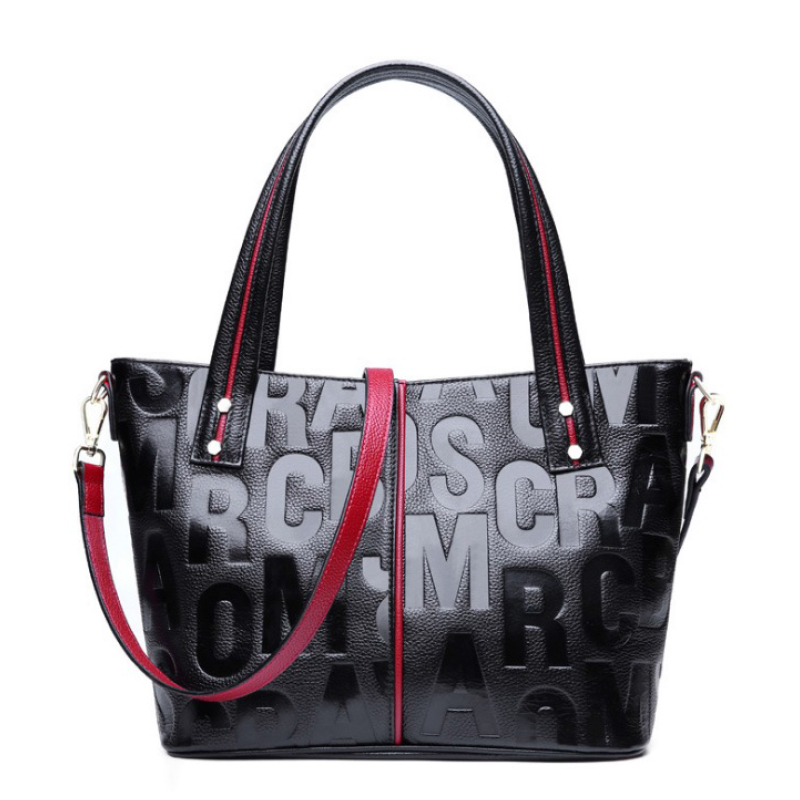 Genuine Leather Women Bag Female Casual Tote Large Capacity Ladies Handbag High Quality Cow Leather Embossed