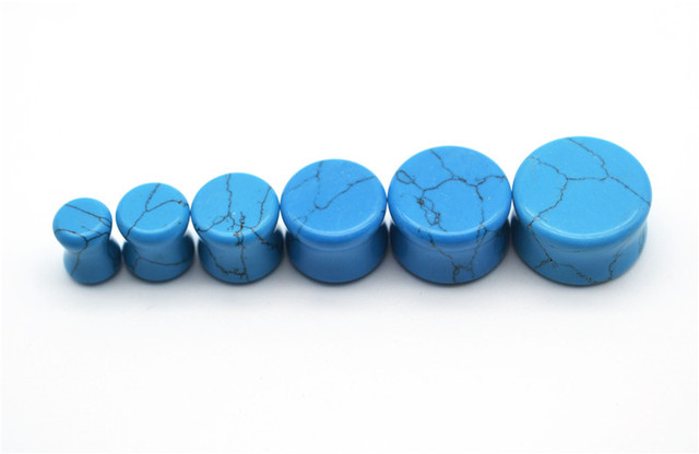 1 PCS New Blue Organic Natural Polished Stone Ear Plugs Ear Expander 6MM 8MM 10MM 12MM 14MM 16MM Body Piercing Tunnels Jewelry