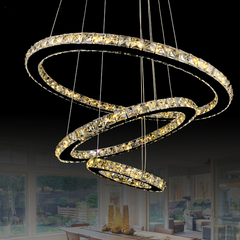 цены Free Shipping Modern Led Crystal Pendant Lamps Crystal Pendant Lights Round Rings Stainless Steel Dinning Living Room Lights