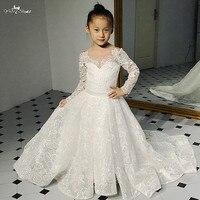 FG11 кружевное платье с цветочным узором для девочек, праздничное бальное платье с длинными рукавами для детей