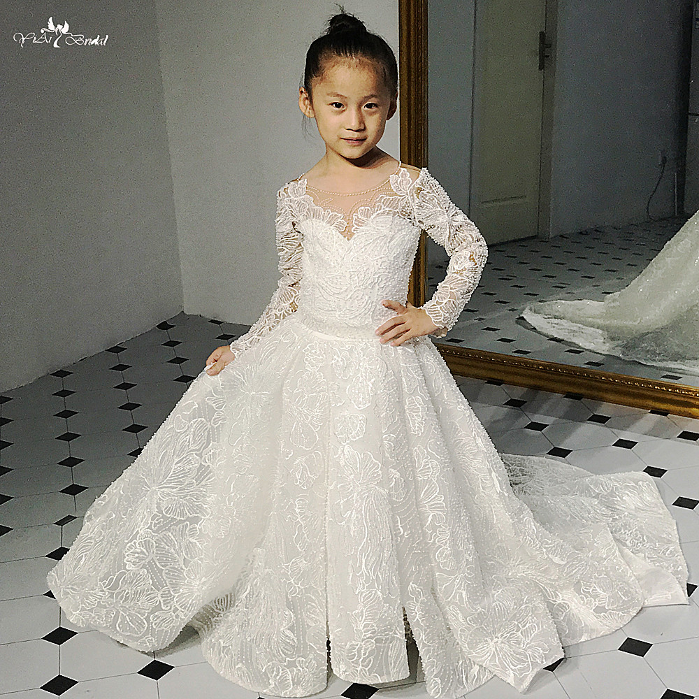 FG11 Lace Flower Girl Dresses Long Sleeve Party Pageant Ball Gown For Kids