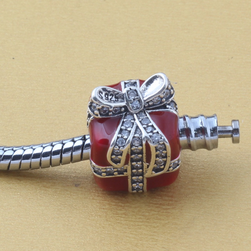 ZMZY Original 925 Sterling Silver Charm Gift with Clear Cubic Zirconia Red Beads Beads For Pandora Charms Bracelets Accessories