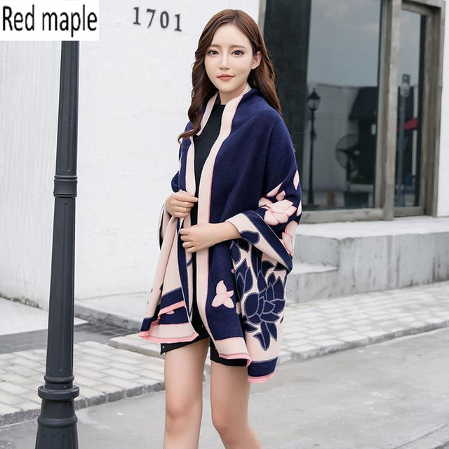 Red maple Pastoral Narcissus Style Scarf Women Fashion Shawls And Wraps Imitation CashmereScarves Winter female Ponchos And Cape