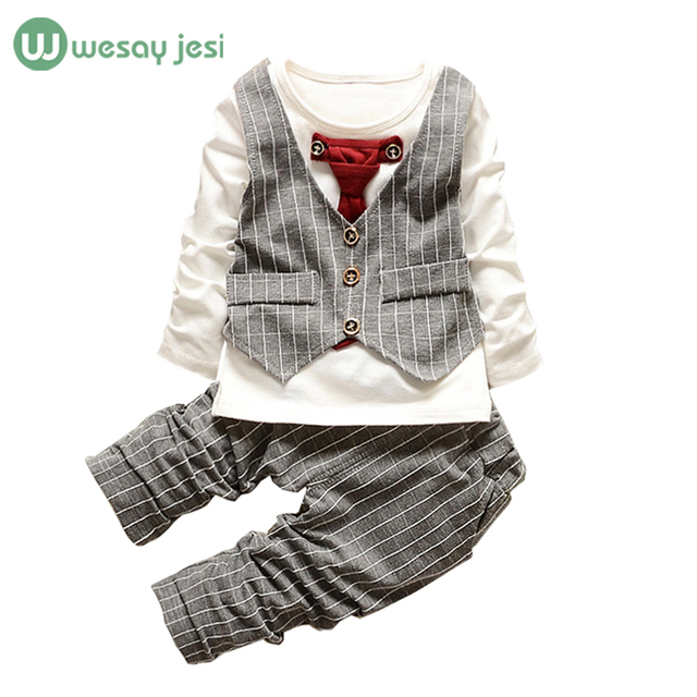 1-3yrs Boys clothes fashion toddler girl clothing set formal suits gentleman Necktie stripe shirt+ trousers kids clothes boys