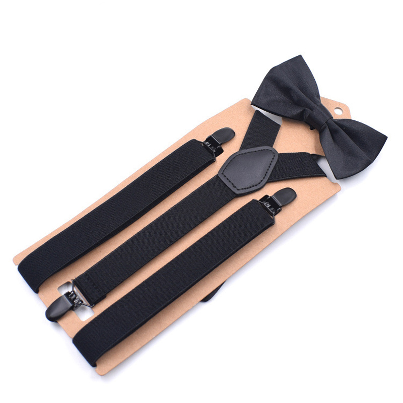 Man's Suspenders With Bow Tie Girl's Braces Set Black Leather Male Vintage Casual Suspensorio Trousers Strap