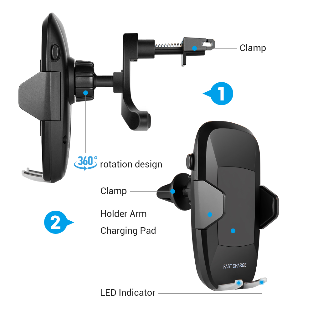 360-Degree Qi Wireless Car Charger