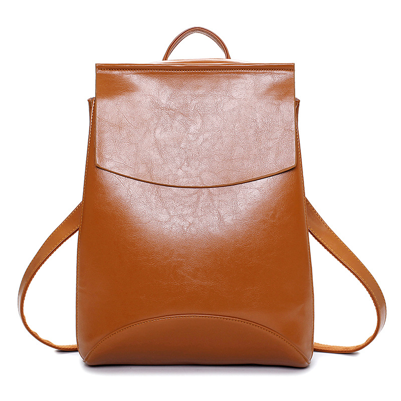 Brand Fashion Women Leather Backpack Solid Vintage School Bags for Girls black leather backpack mochilas mujer