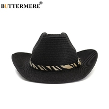 BUTTERMERE Hat Cowboy Black Male Female Straw Beach Hat Leopard Western Cowboy Hats Men Women Outdoor Spring Summer Sun Hat ethnic style western cowboy hat women s wool hat jazz hat western cowboy hat new