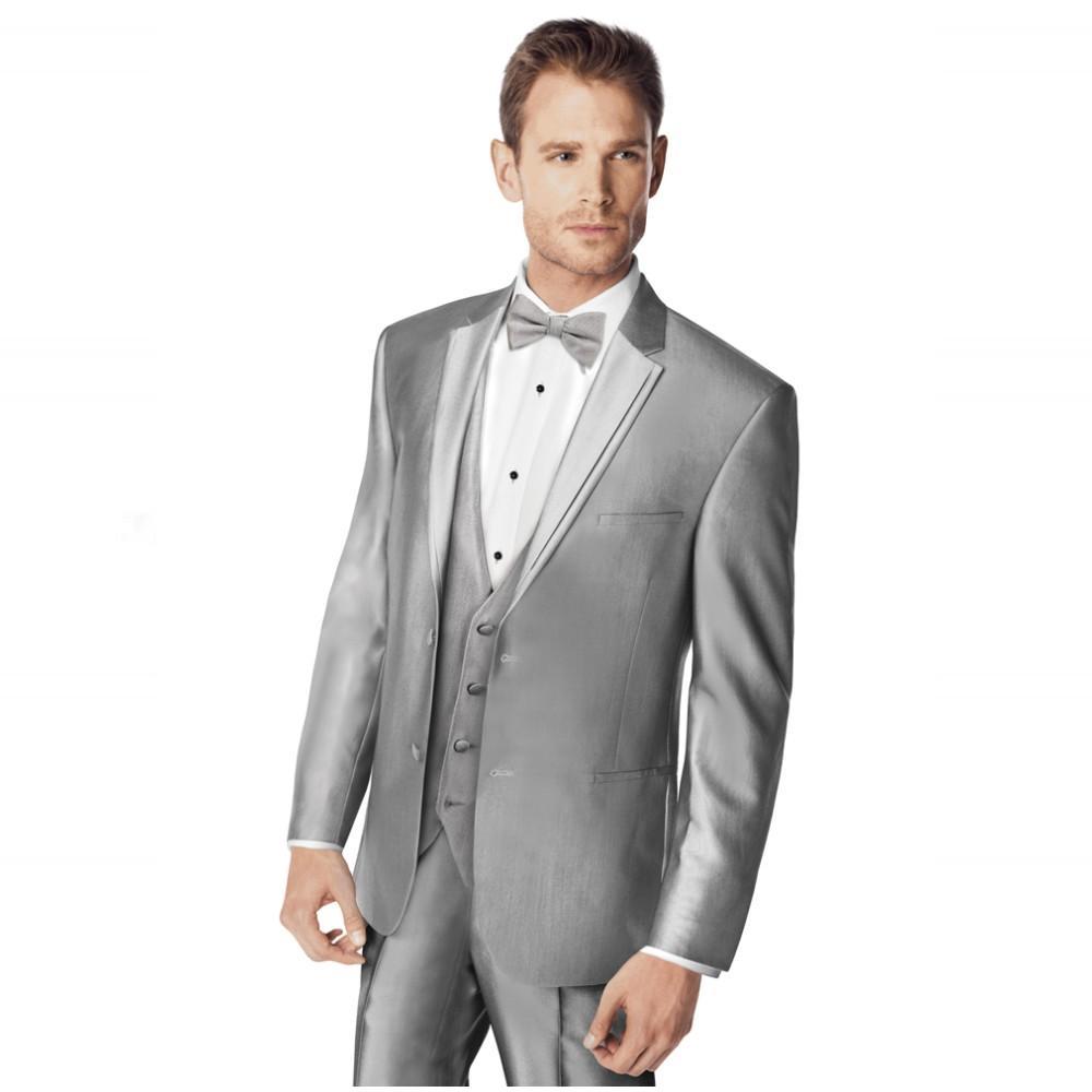 Online Shop Male men Suit Notched Lapel Two Button Light Gray ...