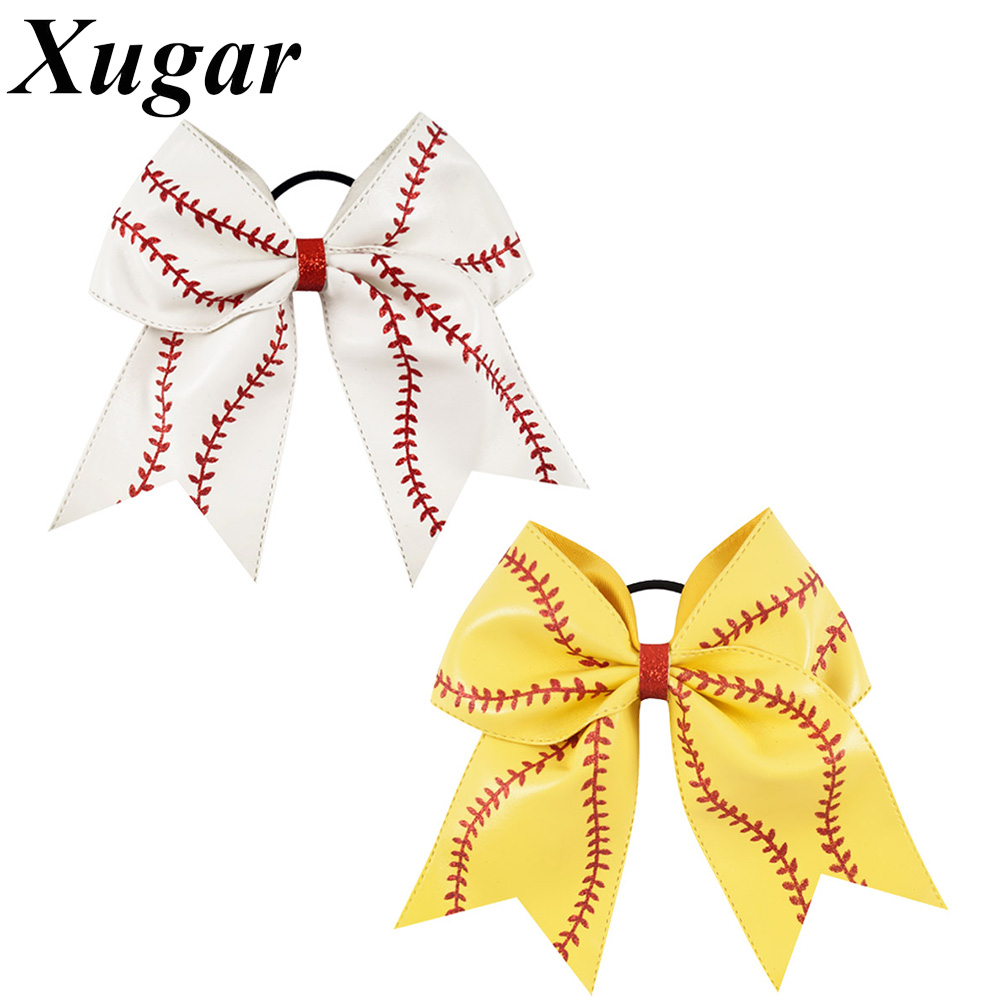 7'' Leather Baseball Cheer Bow With Elastic Band Softball Hair Bow For Cheerleaders Girl Hair Accessories cheer