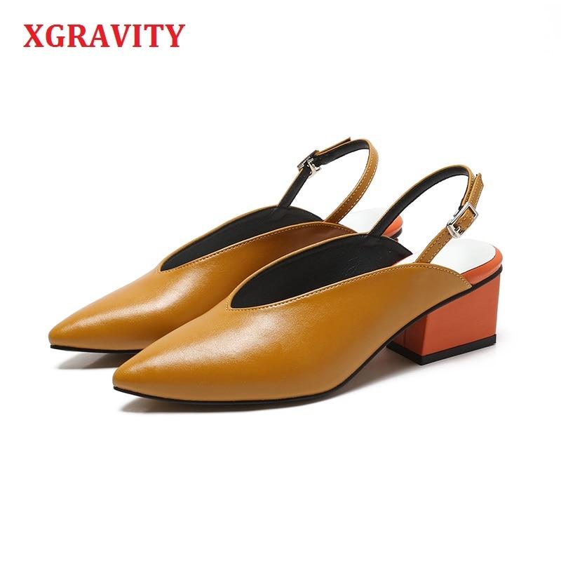 XGRAVITY 春夏の V カット女性の女性のファッションポインテッドトゥドレスシューズ女性夏の女性のハイヒールサンダルチャンキーヒール a090  グループ上の 靴 からの ミドルヒール の中 1