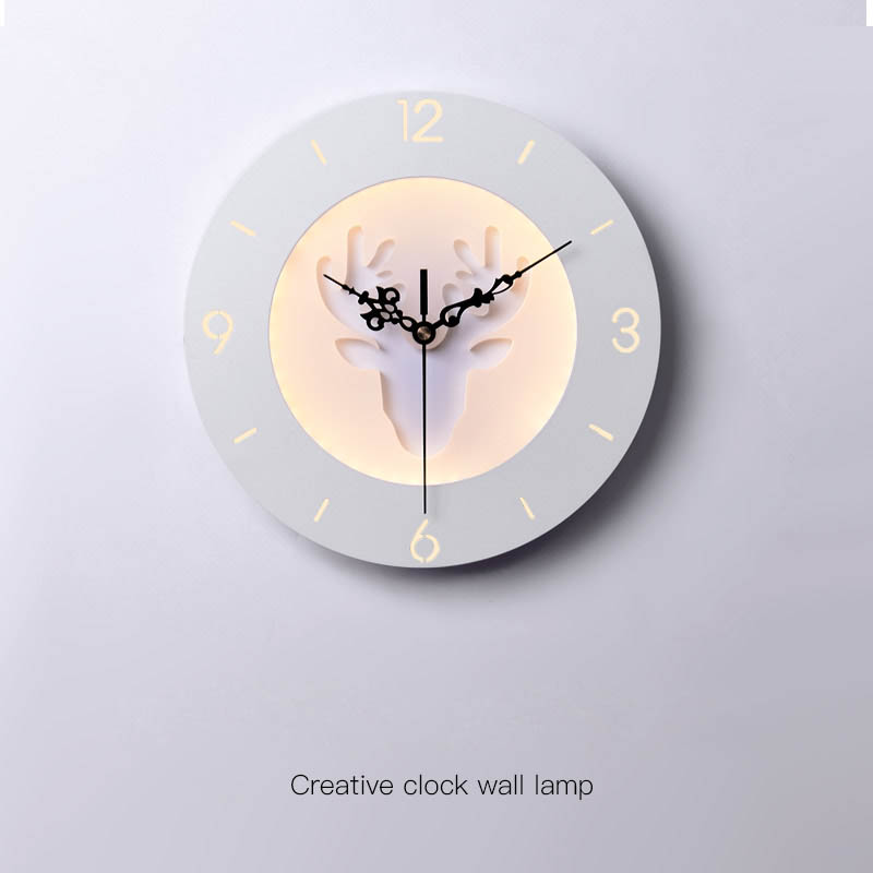 12inch Bedroom Bedside LED Wall Lamp Deer Clock Sconce Lights Hanging Lamp Light Fixtures Bed Designs Modern Wall Art Home Decor labbra labbra