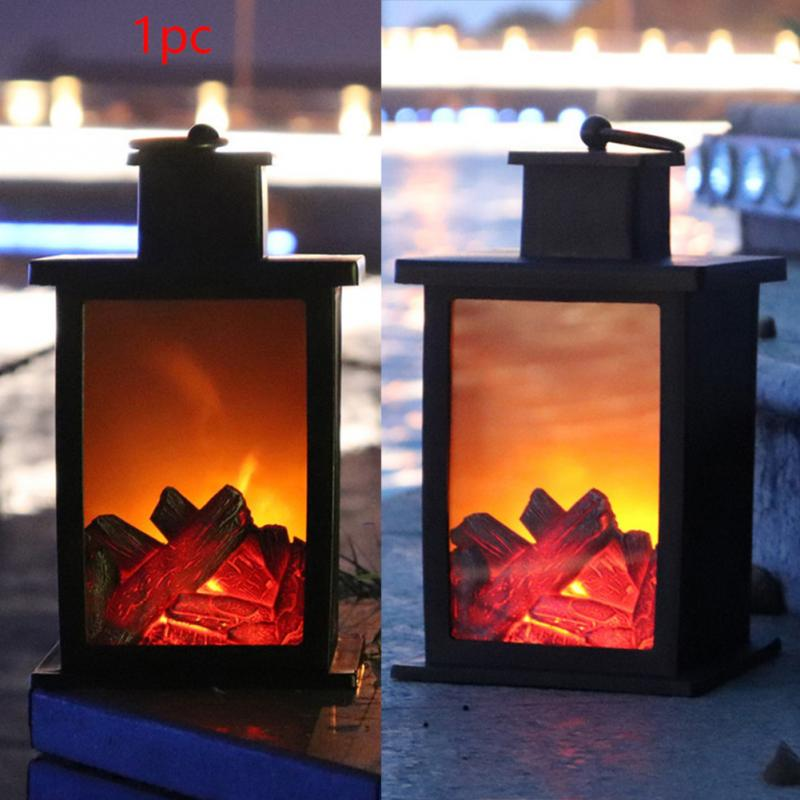 Halloween Flame Light Vintage Fireplace Fairy Night Light Party Hanging Decor LED Lantern Artificial Flame Lamp Battery halloween party supply insect shape paper lantern hanging decration