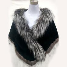 Autumn Winter Ladies' Real Natural Fox Fur Long Patchwork Warm Shawls Women Fur Pashmina Wraps Party Capes