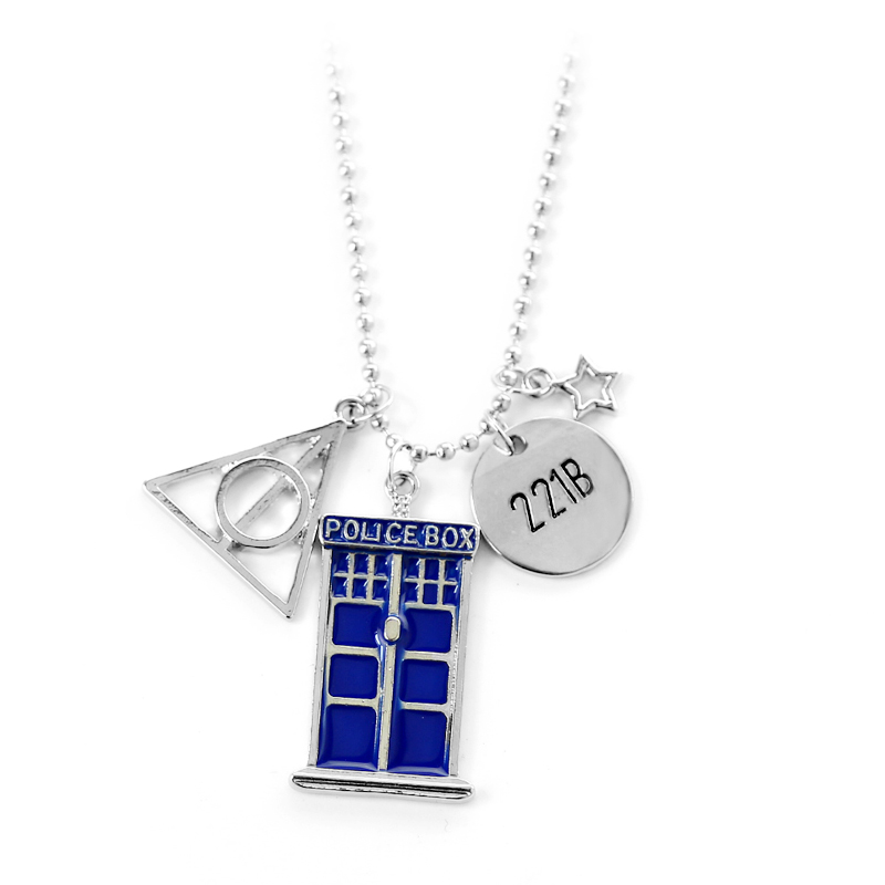 The Deathly Hallows 221B Small Plate and Blue Doctor Who TARDIS Police Box Pendant Necklace DIY Fashion Jewelry for Women Men ...
