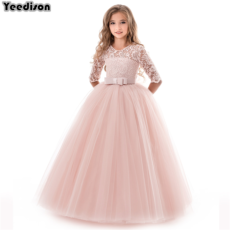 High Quality Lace Princess Dress Girl Wedding Gown Long Party Kids Dresses For Girls 2018 New Autumn Winter Children Costumes 2018 new summer girl children s ball gown princess dress costumes feathers wedding dresses girls kids lace tutu dresses d048