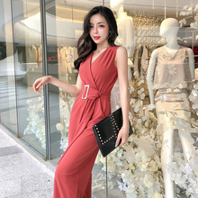 Work Office Women Jumpsuit 2019 Spring Fashion Sexy Overall Loose Soli