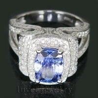 Platinum PT900 2.75Ct Diament Naturalne Tanzanite Wedding Ring, Platinum 900 Dia Tanzanite Pierścień Na Sprzedaż