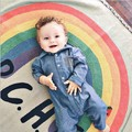 120*150 cm cobertores do bebê recém-nascido Engatinhando Tapete Tapete borla rainbow stripe miúdos cama sofá lance cobertor cobertor do bebê esteira do jogo