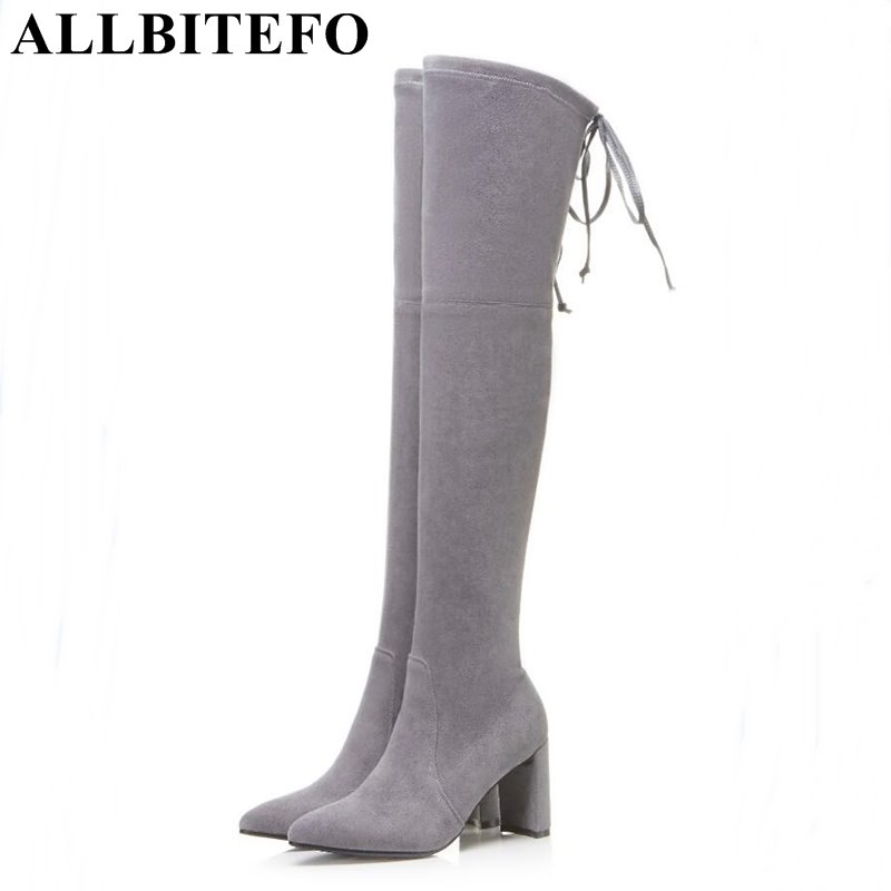 ALLBITEFO fashion sexy sheepskin+Stretch fabric pointed toe thick heel women boots over the knee boots medium heel girls boots fashion slim rivets thick heel pointed toe zip winter snow boots genuine leather stretch fabric over the knee boots women boots